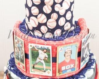 Vintage Baseball Little Boy 3-tier Circle Diaper Cake or Shower Centerpiece