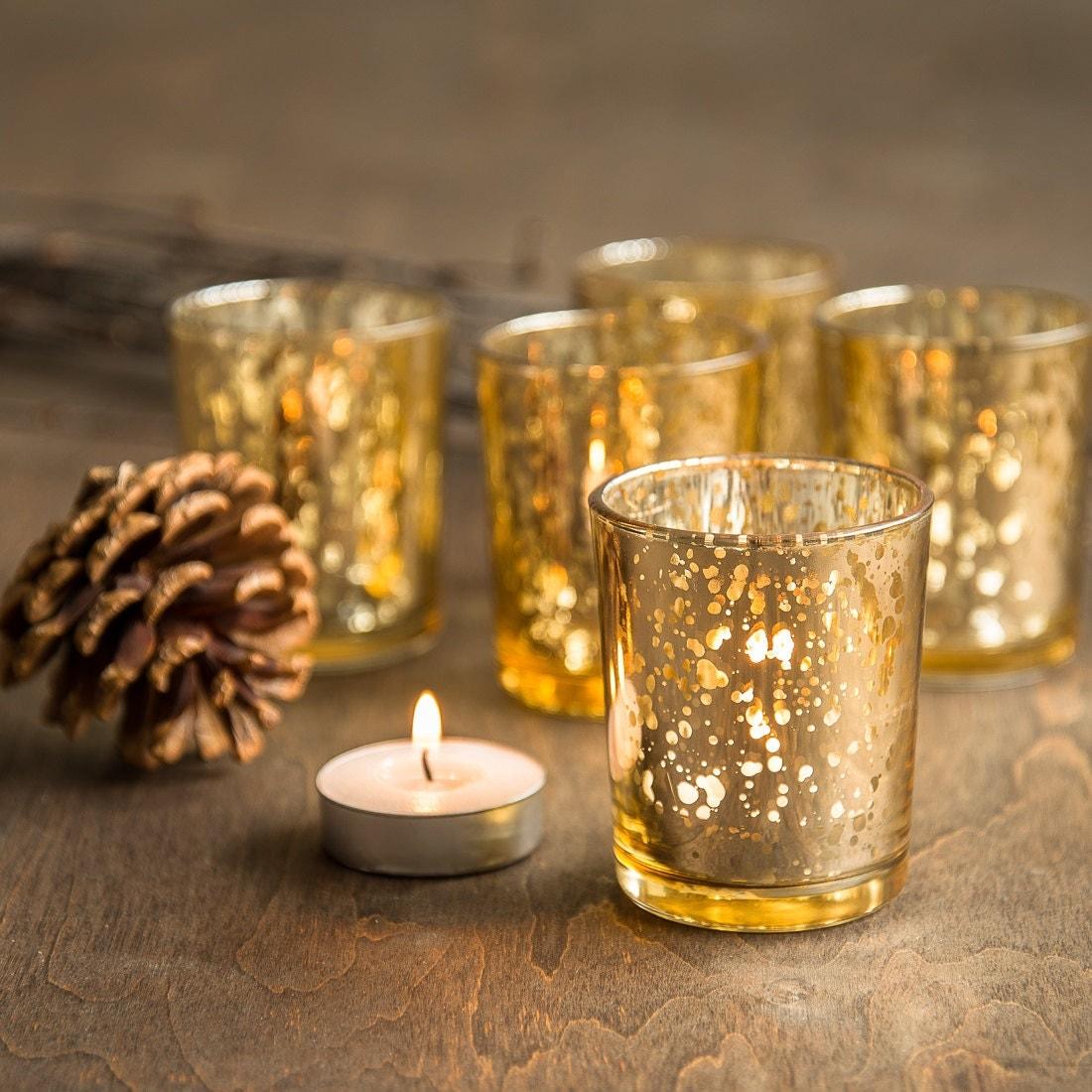 set of 48 gold mercury glass candle votive by bitsofimperfection. Black Bedroom Furniture Sets. Home Design Ideas