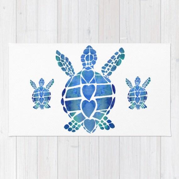 Sea Turtle Love Bath Mat - vibrant blue , watercolor painting, sea ...