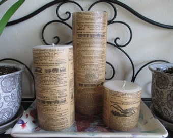 Vintage Newsprint Decorative Round Pillar Candle Set