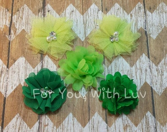 Tulle, satin and bling flower assortment in greens for crafting, headband making, tutus etc.