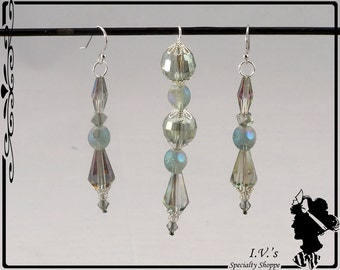 Light Teal Crystal Pendant and Earring Set