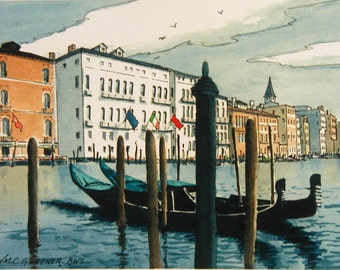 """Grand Canal - Venice, Italy  Watercolor Print Limited Edition 11"""" x 14"""", art, travel, Europe"""