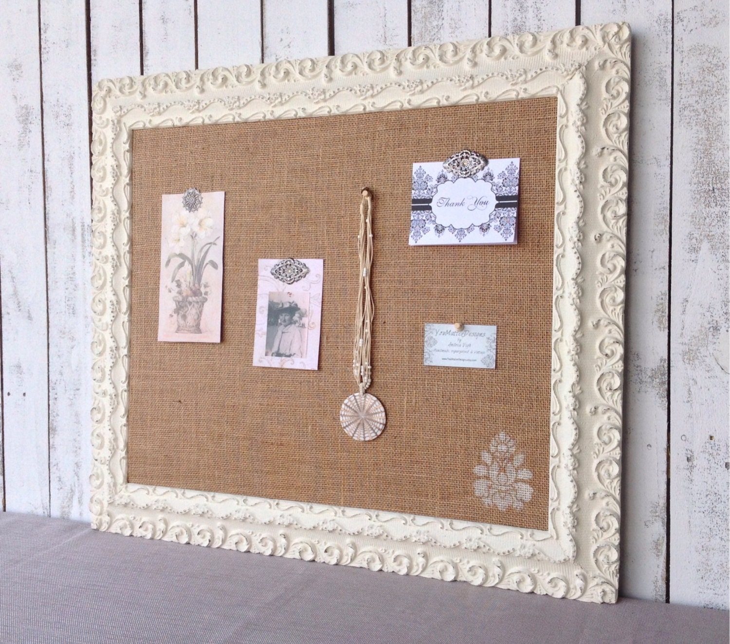 large cork board shabby chic bulletin board by. Black Bedroom Furniture Sets. Home Design Ideas