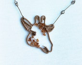 Giraffe jewelry, African animal necklace, zoo wire wrapped pendant