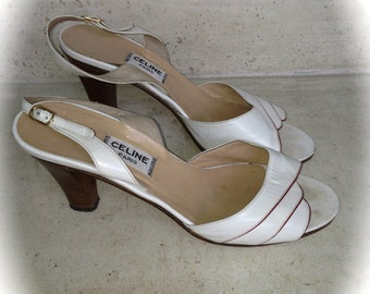 Sandals midheels, Sandline, escarpins Céline vintage White, UK 4, picture 37