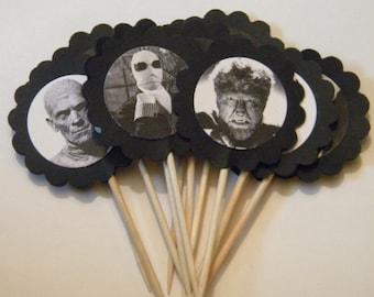 Vintage Pop Horror cupcake toppers/food picks