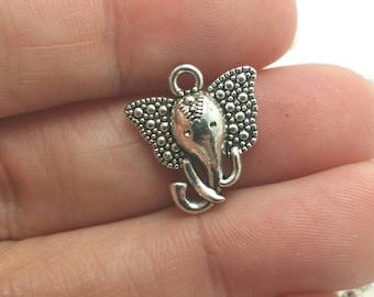 BULK 30 Elephant Charms, Animal Charms, Silver Elephant Charms, Zoo Charms, Bulk Charms (5-1219)