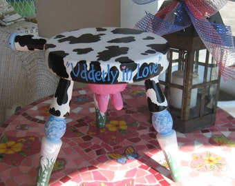 Hand Painted Milking Stool w/ Cow theme