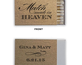 Personalized Wedding Matches Matchbook Custom Printed Lots of Colors and Designs to choose from! Match Made in Heaven! Only 1.10 each