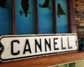 Vintage Black and White Metal Street Signs Cannell.  Great piece of Americana
