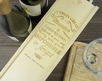 Personalised Wine Box Retirement Gift. Pine Wine Box/Champagne Box Birthday Gift
