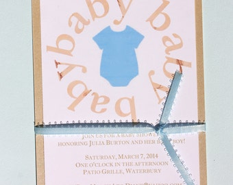 Baby Shower Invitation - Boy blue Onesie and real ribbon wrap!