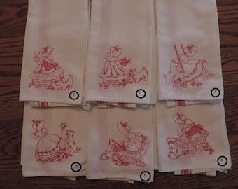 Bluework or Redwork Sunbonnet Sue Towel Set