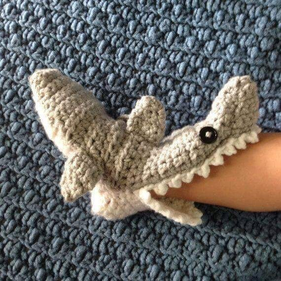 Shark Slipper Socks Crochet Slipper Socks Sharks Adult Women