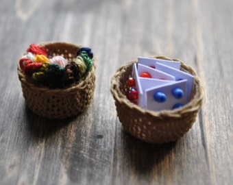 1:12th Scale Dollshouse Miniature Haberdashery Baskets