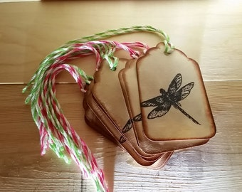 Distressed Dragonfly Stamped Tags - Green and Pink (Set of 8)