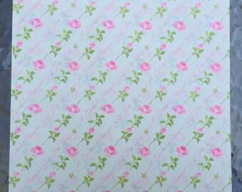 Bridal Shower Gift Wrap Paper Pink Roses Vintage 80s