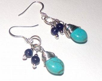 Southwestern Turquoise Earrings For Pierced Ears.