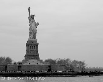 New York Statue of Liberty Black and White Print - Landscape Photography