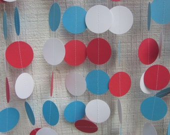 Red, White, Turquoise Paper Circles Garland, Dr. Suess, childrens birthday party,circus party, photo prop, baby shower