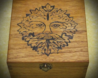Greenman Wooden Box - Hand Pyrographed, Pagan, Wicca, Witch, 16x16x8cm