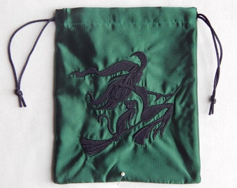 Embroidered Tarot Bag - Witch in Flight