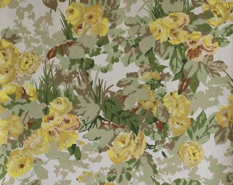 Vintage wallpaper. Full roll . French vintage. Wallpaper roll. Retro wallpaper. Flowers. Yellow. Wall hanging. Wall paper vintage // C269