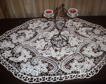 Romanian Point Lace ,Handmade Crochet Doily, Oval Tablecloth,White, Floral Pattern, crochet, wedding gift, home decor