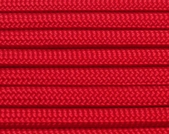 550 Paracord 100ft Red Type III Commercial 7 Strand Nylon Rope Cord USA Made Parachute Cord Free Shipping - Use w bracelets lanyards US