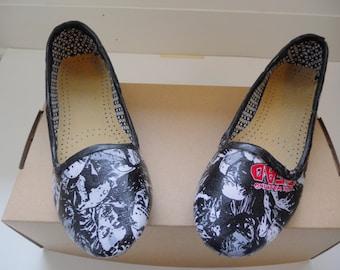 OOAK Walking Dead Decoupage Fabric Covered Women's Shoes Size 8