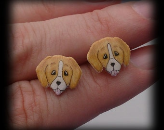 Adorable Beagle/ Beagle type stud earrings. Shrink plastic. Can be customized.