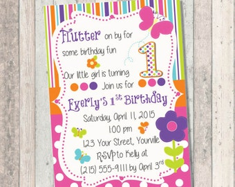 Butterfly Spring Birthday Invitation