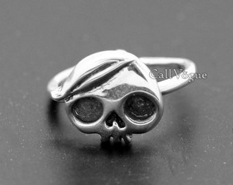 Stylish Hair Skull 925 Sterling Silver Ring, Unique Jewelry, Women Lady adjustable Ring