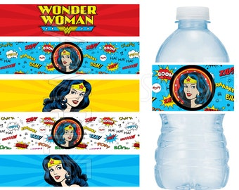 Wonder Woman Birthday Party Water Bottle Labels Water Resistant - Vinyl Stickers BOLD colors