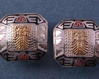 Silver And Enamel Vintage Cufflinks (946p)