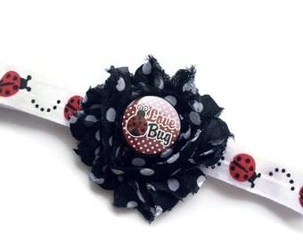 Ladybug Headband - Lady Bug Headband for Girls - Black and White Polka Dot Flower Head Band - Shabby Flower Headband - Cute Bug Headband