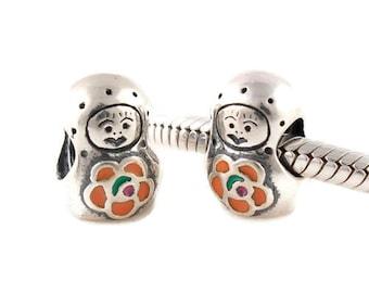 Sterling silver matryoshka Charm bead babuska charm -european silver charm