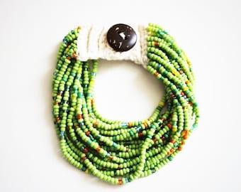 Green Multi Beaded Bracelet