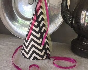 Chevron and Ribbon Party Hat.