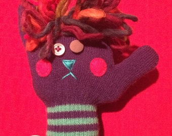 Stuffed Sock Critter; Quirky Handmade Sock Animal Made from Recycled Materials; OOAK   (Magellan)