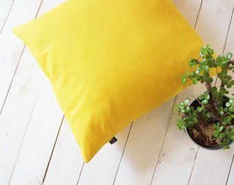 Yellow linen cushion cover | Decorative Pillow by AylaGrayDesigns | 20x20