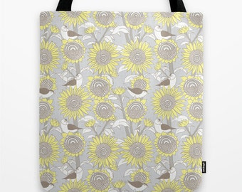 "Sunflowers and finches - Tote bag, 16"" x 16"""