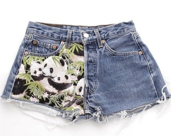 Vintage Levi's 501 Panda Denim Shorts 29 31 Waist - www.brickvintage.com