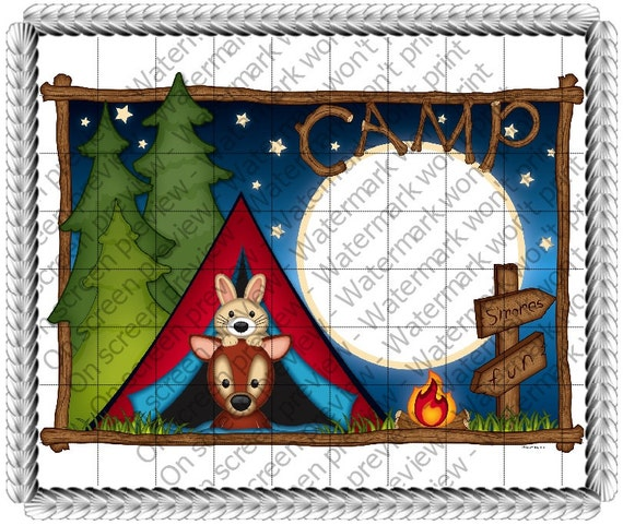 Camping - Edible Cake and Cupcake Photo Frame For Birthday's and Parties! - D110