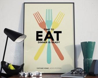 A3 Poster. Vintage Fork Design.