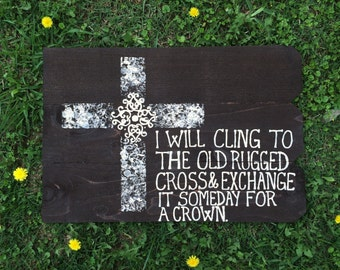 Hand Painted Wooden Sign: the Old Rugged Cross