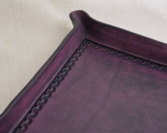 Valet Tray with Hand Tooled Border - Full Grain Leather