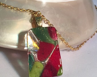 Fused Art Glass Pendant/Necklace - olive green/pimento red