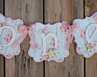 Shabby Chic High Chair Banner: Shabby Chic Birthday Party